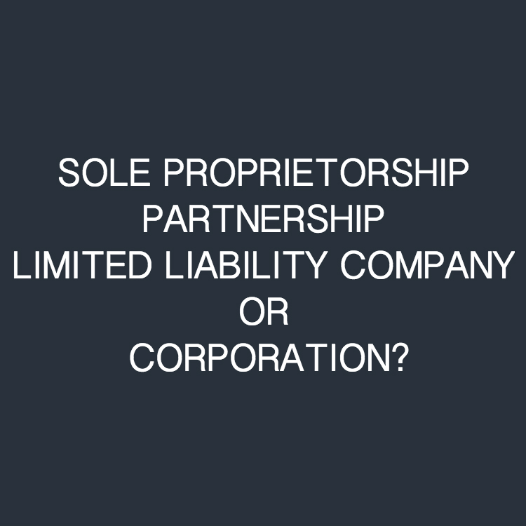 "The white font text ""SOLE PROPRIETORSHIP PARTNERSHIP LIMITED LIABILITY COMPANY OR CORPORATION?"" on a dark blue background"